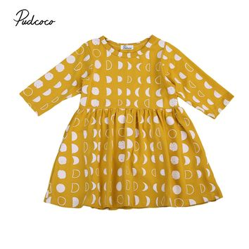 Helen115 Lovely Kid baby girl clothes Yellow Flower Full Sleeve O neck Cotton Dresses 1-6Years