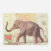 28x21 Elephant Map Poster- Dark Grey One