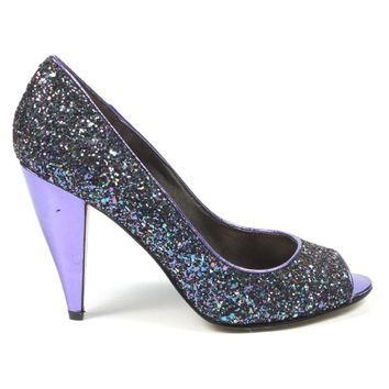Nine West Womens Pump Open Toe Nwhealth Black Purp