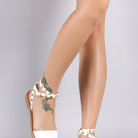 City Classified Pyramid Studded Ankle Strap Flat Sandal