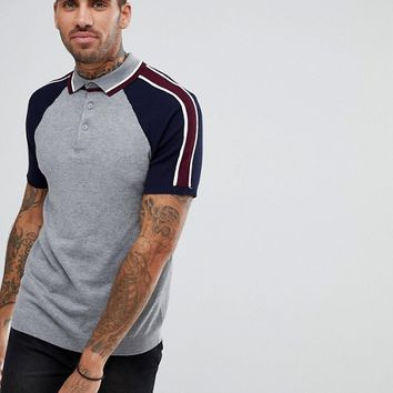 River Island Slim Fit Polo Shirt With Colour Block Sleeves In Grey at asos.com