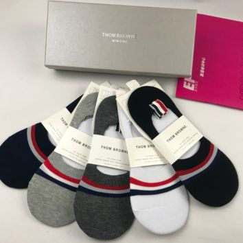 THOM BROWNE Embroidered Socks with Box