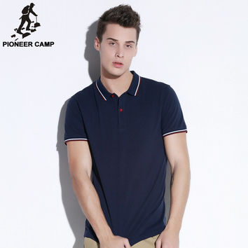 Pioneer Camp 2016 Men Polo Shirt Casual Cotton Men Polo Shirts Dark Blue Solid  Polo Shirts mens polo shirt brands 505112
