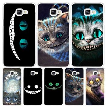 Alice in Wonderland Cheshire Cat Hard White Coque Shell Case Cover Phone Cases for Samsung Galaxy A3 A5 A7 2016 2017 A8 A9