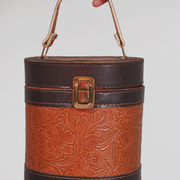Vintage 70s TOOLED LEATHER Box Purse Caramel & Mocha Wood Container Bag