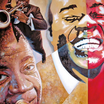 Louis Armstrong.  High Quality Print on Canvas, Dmitry Spiros, living room decor wall art, home decor.