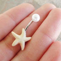 White Turquoise Starfish Belly Button Jewelry Belly Ring