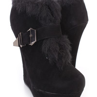 Black Fur Trim Slit Strapped Bootie Wedges Faux Suede