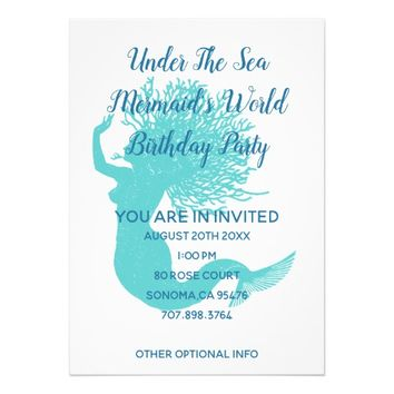 Under The Sea Mermaid's World Birthday Party Invitation