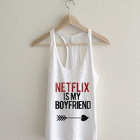 Netflix is my Boyfriend Cupid Racerback Tank Top
