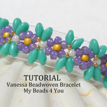 PDF Beading Pattern,Beadwork Bracelet Pattern,Beadweaving TutorialPattern,Seed Bead Tutorial,PDF Superduo Tutorial,Easy Beading Instructions