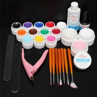 12 Pure Colors UV Gel Acrylic Builder Nail Brush File Kit Top Coat Set