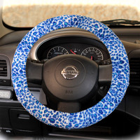 by (CoverWheel) Steering wheel cover cheetah print wheel car accessories Blue-Mint leopard fur