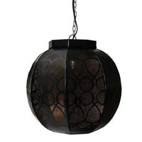 """14"""" Black and Gold Moroccan Style Cut-Out Hanging Lantern Pendant Ceiling Light Fixture"""
