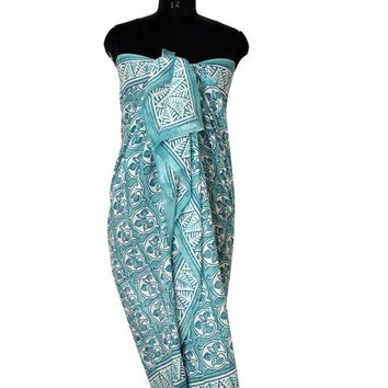 Light Cotton Green Sarong, Long Scarf, Fashion Beach Cover up Pareo, Swim Wear Sarong - Gift For Her