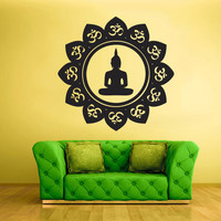 Wall Decal Vinyl Sticker Decals Hindu Om Buddha Indian Flower (z1360)