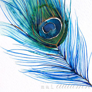 SALE 20% Off - Peacock Feather I - Bird Painting - Bright Color - 11x14 Giclee Print - Wall Art - Watercolor Painting - Nature