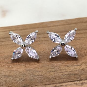 Marquise Shape Flower Petals Diamond Simulant CZ Sterling Silver Stud Earrings