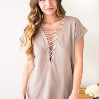 Hey Baby Lace Up French Terry Top in Khaki