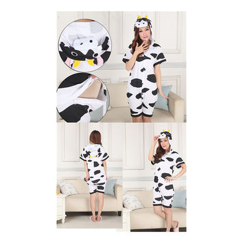 Unisex Adult Pajamas  Cosplay Costume Animal Onesuit Sleepwear Suit Summer cow