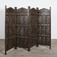 Flower Jali 4 Panel Screen - Screens & Dividers - Living