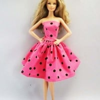 Handmade Barbie Clothes Barbie Dress Pink Black Dots Strapless 05 | Meylah