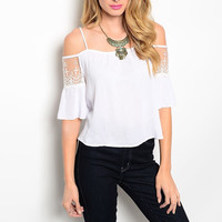 Bohemian Laced & Exposed Shoulder Light Top in White