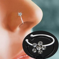 Piercing Nose Ring Indian Flower Nose Stud Hoop Fake Septum Clicker Piercing Nariz Nose Clip Rings Body Piercing Jewelry 15