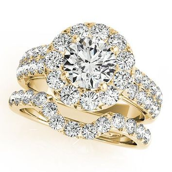 Becky Round Moissanite Halo Cathedral Engagement Ring