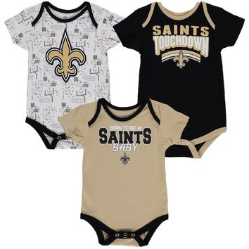 New Orleans Saints Infant Playmaker 3-Pack Bodysuit Set - Black/Gold/White