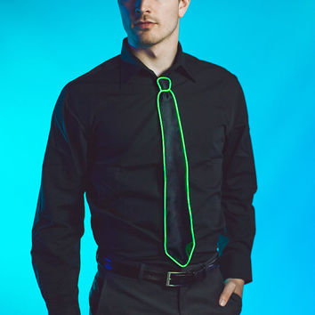 Light Up Tie / Necktie : Hand sewn El Wire glowing, strobing tie