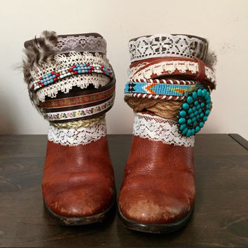 "The ""Crystal"" - Custom Upcycled Leather Cowboy Boots"