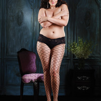 Diamond net pantyhose with sexy lace boy short top