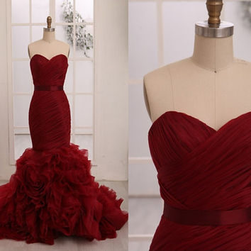Vera Wang Inspried Wine Red Burgundy Organza Mermaid Weding Dress Bridal Gown