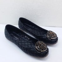 Tory Burch Popular Summer Women Slip-On Casual Flats Shoes Black I12234-1