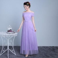 ZX-F2QZ#Model to film the new 2016 bridesmaid dresses long sisters dress one Words brought the veil dress light purple