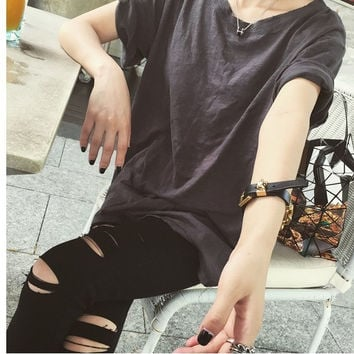 Retro street student summer new solid color T