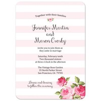 Wedding Invitation - Black Stripes and Chic Pink Roses