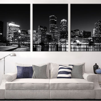 Large Canvas Print - Boston Night Skyline Cityscape Black White, Boston Large Canvas Print, Boston Night Citiescape Art Canvas Print - MC54