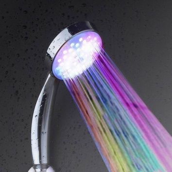 ing  Temperature Senor Control RGB LED Light Water Shower Head No Battery Needed