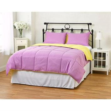 Full/Queen Size 3 Piece Purple/Yellow Microfiber Comforter Set With 2 Shams