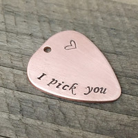 Guitar pick with Hole, I pick you, Boyfriend gift, BF gift, She buy Guitar pick for him as his Gift say I pick you, Personalized mens Gift