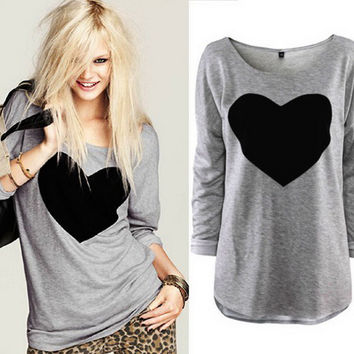 Fashion Women Lady Cute Heart Love Round Neck Long Sleeve Top T-shirt new arrival Quality