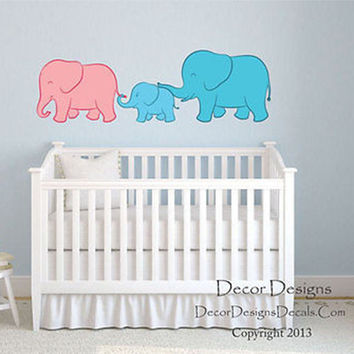 Elephant Family Little Boy Printed Fabric Repositionable Wall Decal