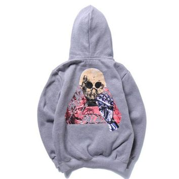Palace Autumn And Winter Skull Triangle Printing Plus Velvet Hood Hooded Sweater Grey