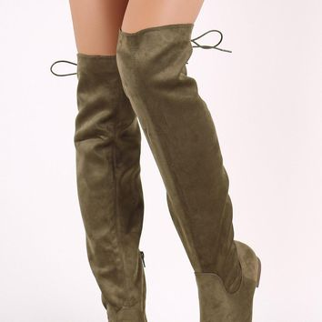 Liliana Suede Back Lace-Up Over-The-Knee Flat Boots