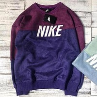 NIKE Autumn Winter Trending Women Men Stylish Stitching Color Suede Long Sleeve Round Collar Sweater Top Sweatshirt Green