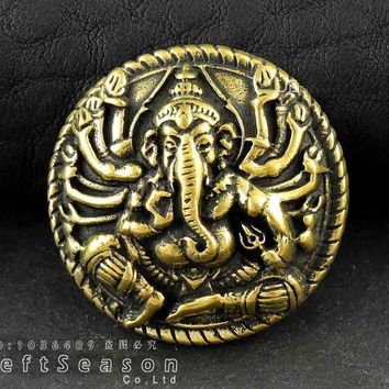 Brass Ganesh Buddha Elephant Concho Button For Biker Leather Wallet /Bag