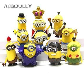10pcs/pack 3D Crown Minions Miniature Figurines Toys Car model Anime Children Figure collection of Kids toys Home Decor Crafts