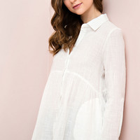 Off White Button Down Crinkle Tunic with Pockets